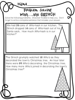 Problem Solving... Bar Models with the Grinch!