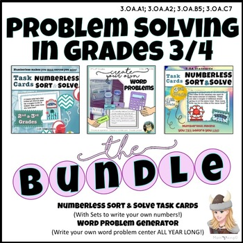 Problem Solving Bundle for Grades 3/4 Numberless Task Card & Write your own!