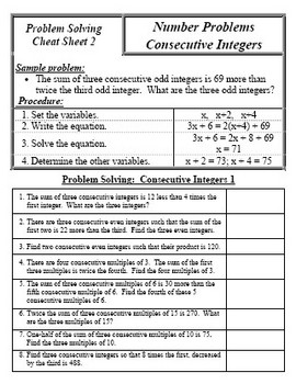Problem Solving Cheat Sheets for SAT and ACT students
