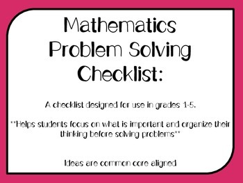 Problem Solving Checklist