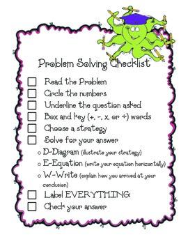 Problem Solving Checklist-Common Core