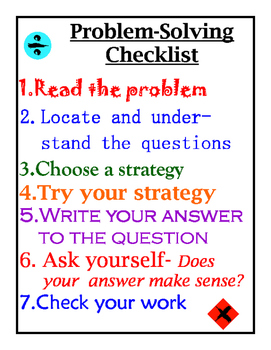 Problem Solving Checklist Poster