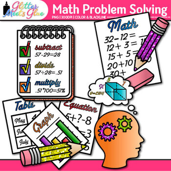 Math Problem Solving Clip Art {4 Steps: Understand, Devise, Carry Out, Look} 1
