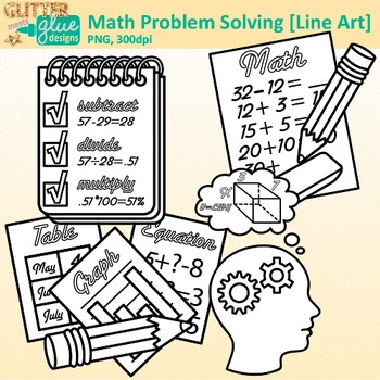Math Problem Solving Clip Art {4 Steps: Understand, Devise, Carry Out, Look} B&W