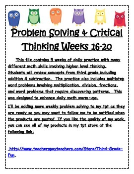Problem Solving & Critical Thinking Weeks 16-20