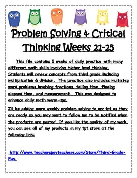 Problem Solving & Critical Thinking Weeks 21-25
