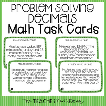 Problem Solving Decimals Task Cards (Word Problems) for 5th Grade
