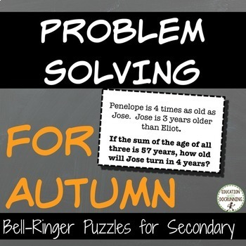 Autumn Problem Solving Puzzles for Middle School Math in the Fall