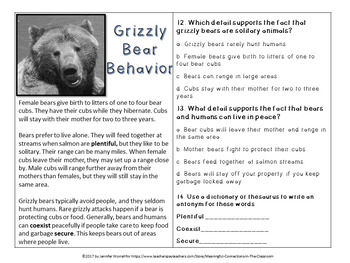 Problem Solving, Finding Main Ideas, and Summarizing with Grizzly Bears!