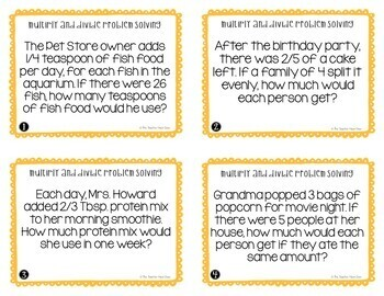 Problem Solving Fractions Task Cards (Mult. and Div. Word Problems) for 5th