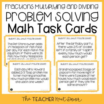 Problem Solving Fractions Task Cards (Mult. and Div. Word