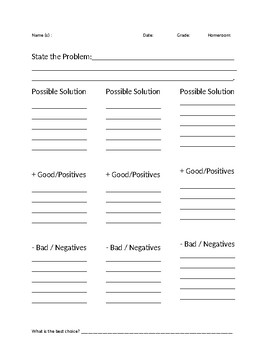 Problem Solving Graphic Organizer Physical Education Health Wellness PE WS
