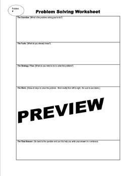 Problem Solving Graphic Organizer worksheet