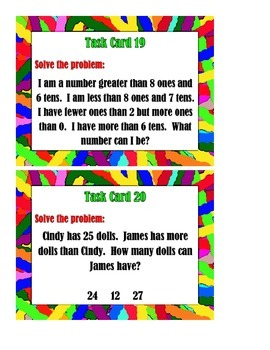 Problem Solving:  Greater Than, Less Than, or Equal To - Task Cards
