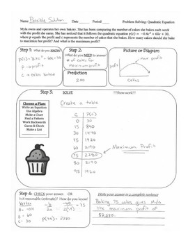Problem Solving: Introduction to Quadratic Equations (Bakery)