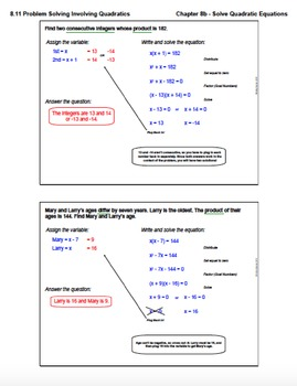 Problem Solving Involving Quadratics (Lesson with Homework)