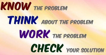 Problem Solving  Know Think Work Check  Common Core  from Johnnie
