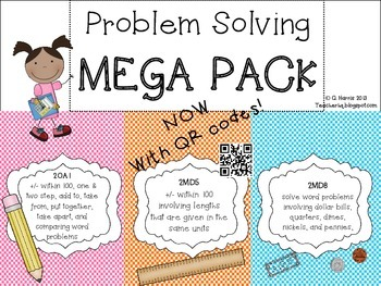 Problem Solving MEGA PACK with QR CODES (addition/subtraction/money/length)