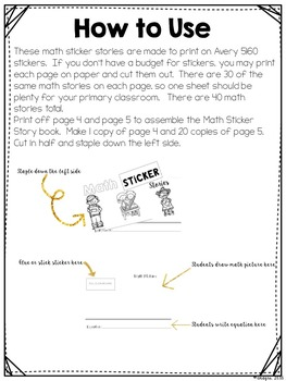 Problem Solving Math Task Card Sticker Stories #1