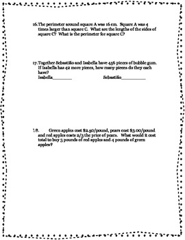 Problem Solving Math Worksheets and Test Review