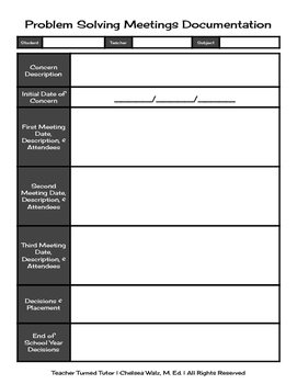 Problem Solving Meetings Documentation (Individual Student)