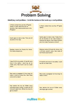 Problem Solving Methods 1 - Identifying Word Problems -1st grade