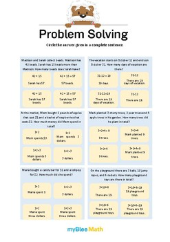 Problem Solving Methods 5 - Circle the answer given in a complete sentence