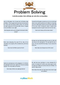 Problem Solving Methods 6 - Circle the numbers that will help solve the problem