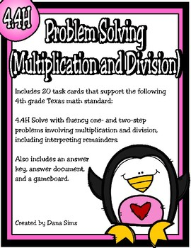 Problem Solving (Multiplication and Division) TEKS 4.4H STAAR Practice