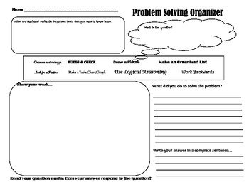 Problem Solving Organizer with Explanation Area