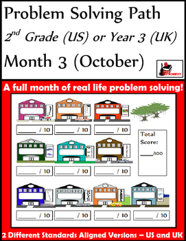 October Problem Solving Path: Real Life Word Problems for 2nd Grade / Year 3