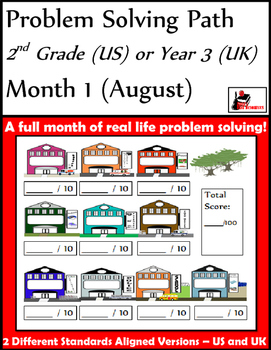 August Problem Solving Path: Real Life Word Problems for 2nd Grade/Year 3 - FREE
