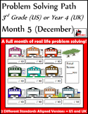 December Problem Solving Path: Real Life Word Problems for 3rd Grade/ Year 4