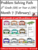 February Problem Solving Path: Real Life Word Problems for 3rd Grade/ Year 4