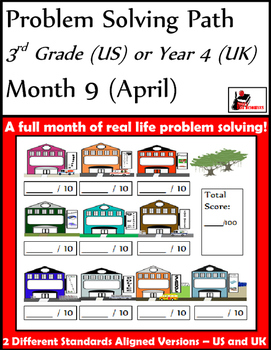 April Problem Solving Path: Real Life Word Problems for 3rd Grade/ Year 4