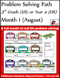 August Problem Solving Path: Real Life Word Problems for 3rd Grade/Year 4 - FREE