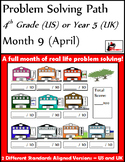 April Problem Solving Path: Real Life Word Problems for 4th Grade/ Year 5