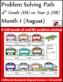 August Problem Solving Path:Real Life Word Problems for 4th Grade/ Year 5 - FREE