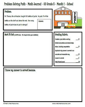 Problem Solving Path - 5th Grade/ Year 6 - A Year Long Plan