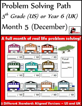 December Problem Solving Path: Real Life Word Problems for 5th Grade/ Year 6
