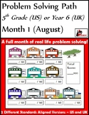 August Problem Solving Path: Real Life Word Problems for 5th Grade/Year 6 - FREE