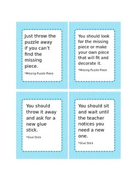Problem Solving Picture Cards with Solutions for Special Education