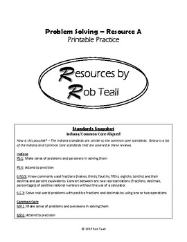 Problem Solving Printable Practice - Resource A