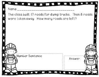Problem Solving Printables (Subtraction) - Construction Edition
