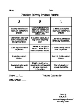 Problem Solving Process Rubric