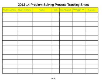 Problem Solving Process Tracking Sheet