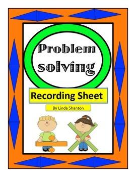 Problem Solving Recording Sheet