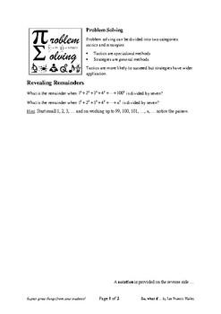 Problem Solving: Revealing Remainders