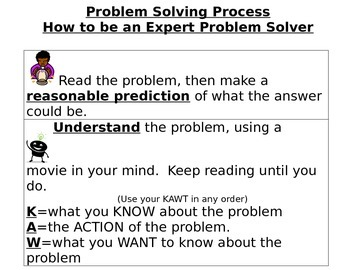 Problem Solving Rubric BIG with sentence stems