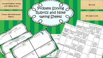Free!- Problem Solving Rubrics and Note Sheets. No Prep!